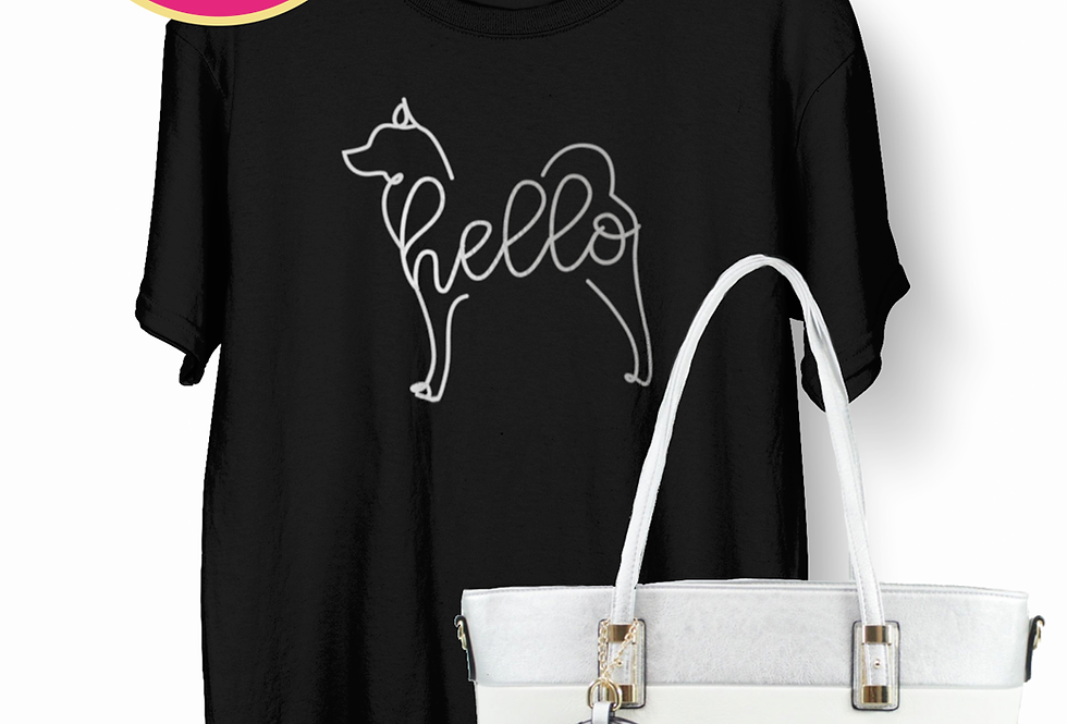 Hello Pup Bag & Tee - ANY BREED Black and Silver Striped