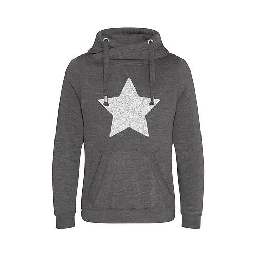 Grey Glitter Star Cowl Neck Hoodie