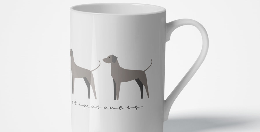 Trio Porcelain Mug - Valiant Weimaraners