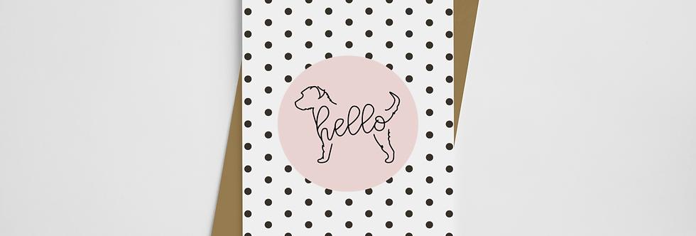 Hello Pups Polka Card ANY BREED