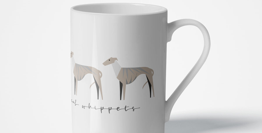 Trio Porcelain Mug - Whimsical Whippets