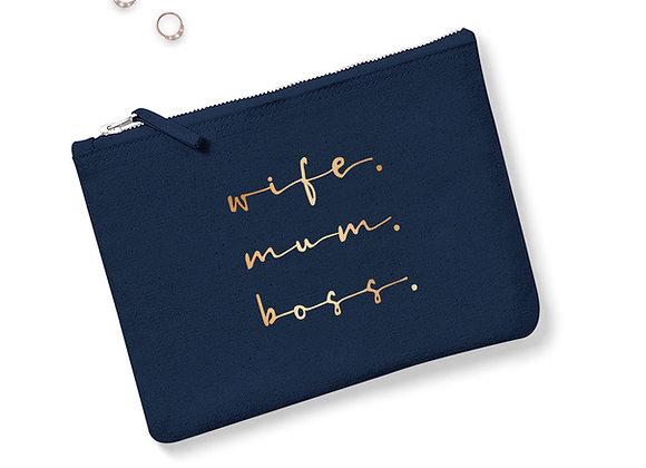 Wife, Mum, Boss Accessory Bag