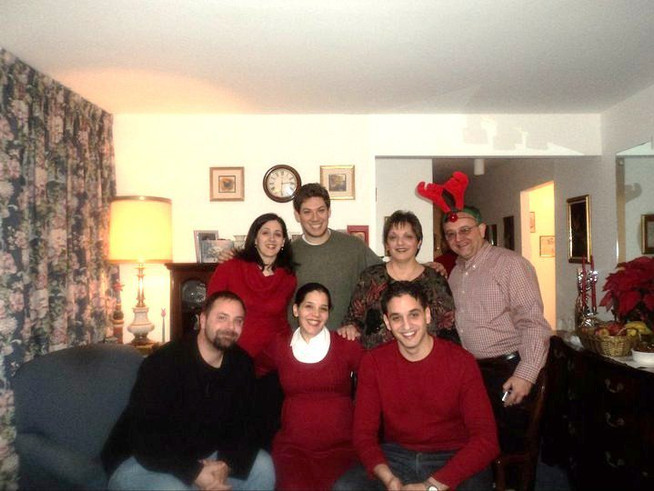 Christmas with Tom's parents and siblings.