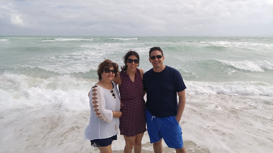 Enjoying the beach on our trip to Florida with Anna's mom.