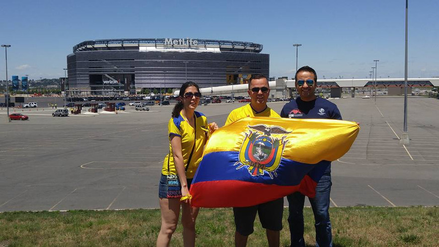 Anna and her brothers showing off their Ecuadorian pride outside the soccer game.