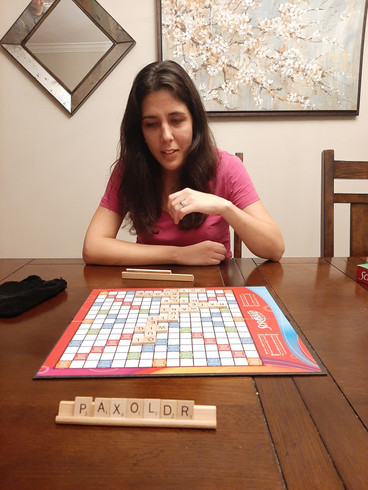 Thinking about Anna's next move in Scrabble