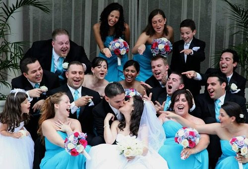 Our wedding party filled with friends and family