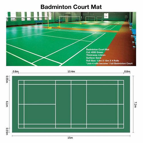 4.5MM BADMINTON COURT MAT/ COURT SIZE:7.2M X 15M/ ROLL SIZE: 1.8M X 15M X 4 ROLL