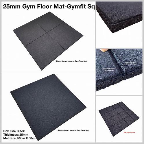 25MM RUBBER GYM FLOOR MAT - GYMFIT SQ/ 50CM X 50CM