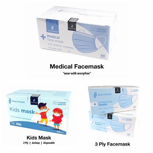 🔥READY STOCK🔥Face Mask 3ply Disposable / Pelitup Muka Perubatan/ 一次性口罩/ SKIN H