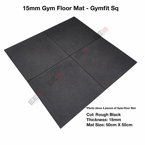 15MM RUBBER GYM FLOOR MAT - GYMFIT / 50CM X 50CM/ SUITABLE FOR GYM USE