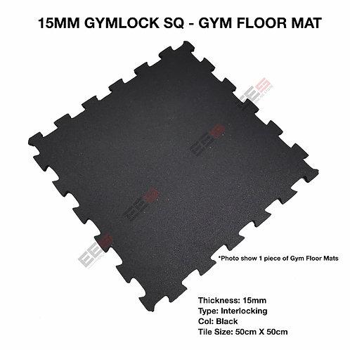 15MM RUBBER GYM FLOOR MAT INTERLOCKING - GYMLOCK SQ-BLACK /50CM x 50CM/CENTER TI