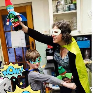 Superhero Helen and her sidekick