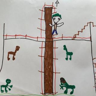 Oliver's superhero Jurassic Park scene