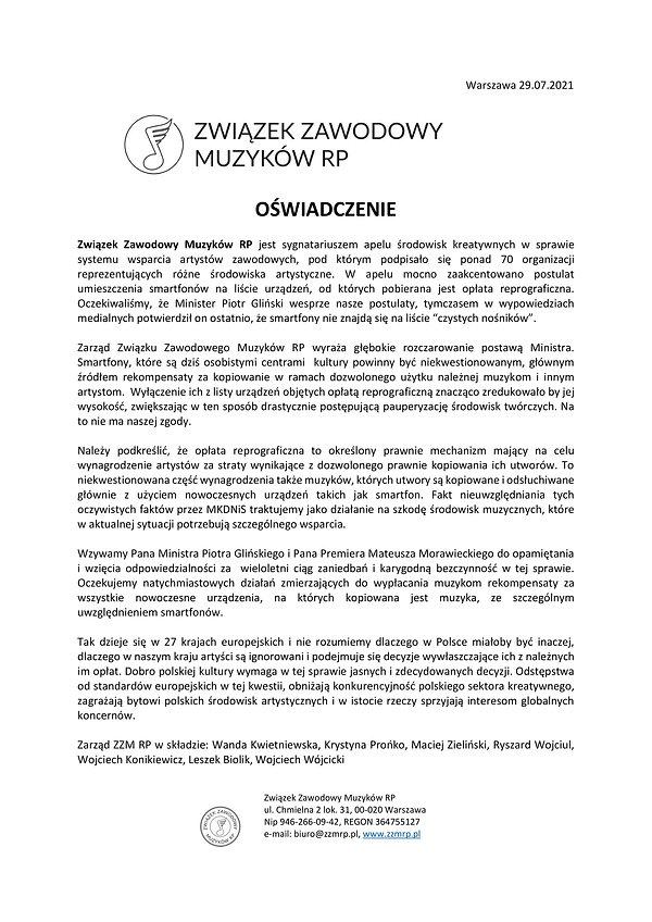 Oświadczenie ZZM RP - lipec 2021.jpg