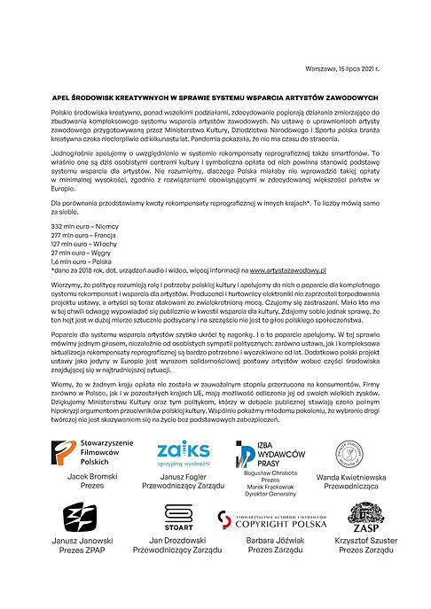 2021-07-15 APEL ŚRODOWISK KREATYWNYCH ustawa o uprawnieniach artysty zawodowego-1.jpg