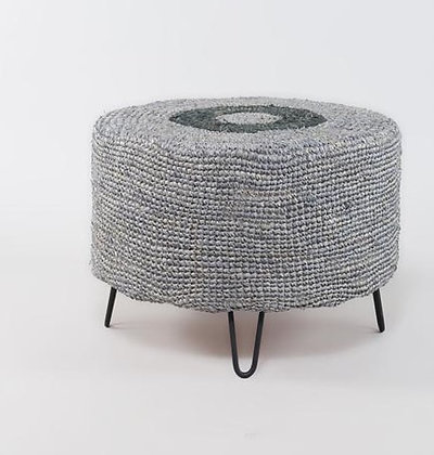 Domangu Round Stool - Black Grey