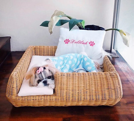 Shortbread Dog Bed - Natural Willow