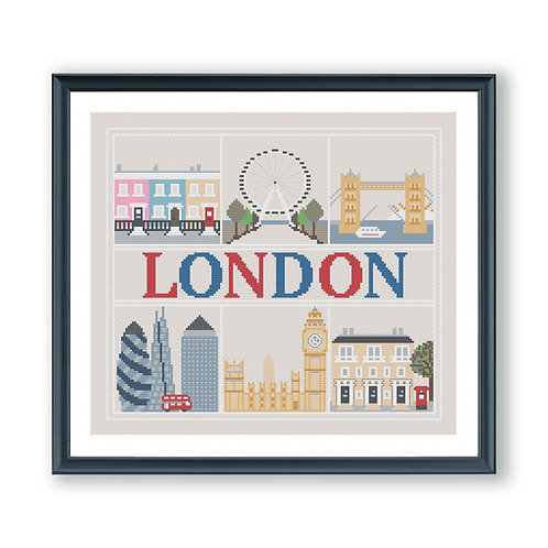 London Landmarks Cross Stitch Pattern