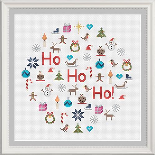 Ho! Ho! Ho! Fun Festive Christmas Cross Stitch Pattern