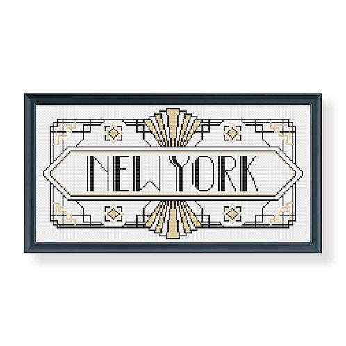 Art Deco New York Cross Stitch Pattern