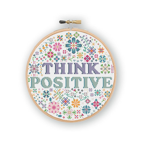 Think Positive Cross Stitch Pattern