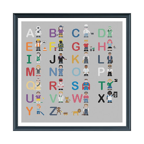 Alphabet Jobs Cross Stitch Pattern