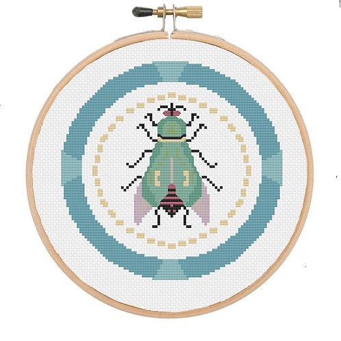 Art Deco Beetle Cross Stitch Pattern