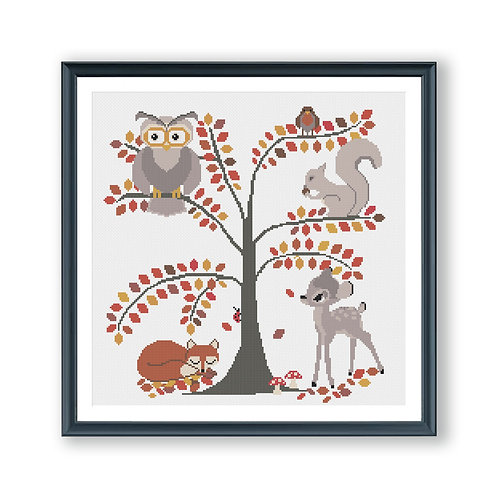 Woodland Animals Cross Stitch Pattern