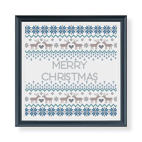 Reindeer Christmas Fairisle Sampler Cross Stitch Pattern
