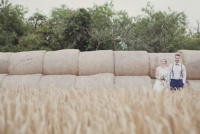 Outdoor wedding corn field with bride and groom