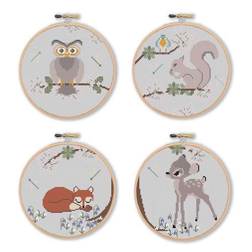 Spring Woodland Animals Cross Stitch Pattern