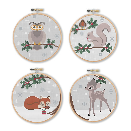 Winter Woodland Animals Cross Stitch Pattern