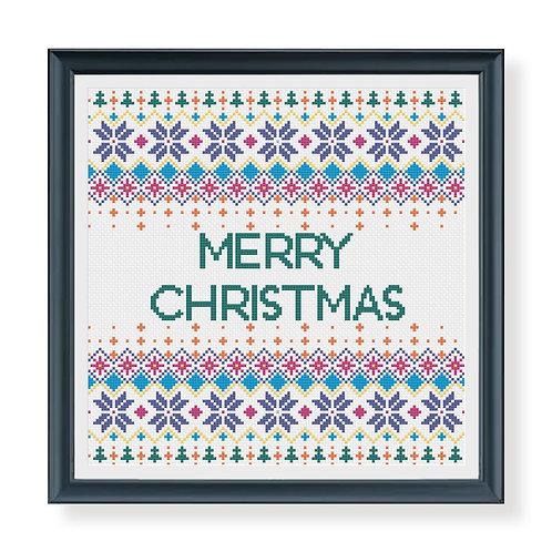 Colourful Christmas Fairisle Sampler Cross Stitch Pattern