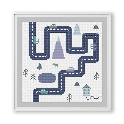 Scandinavian Children's Road Scene Cross Stitch Pattern