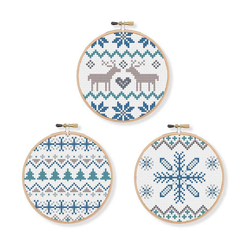 Christmas Hanging Decorations Cross Stitch Pattern