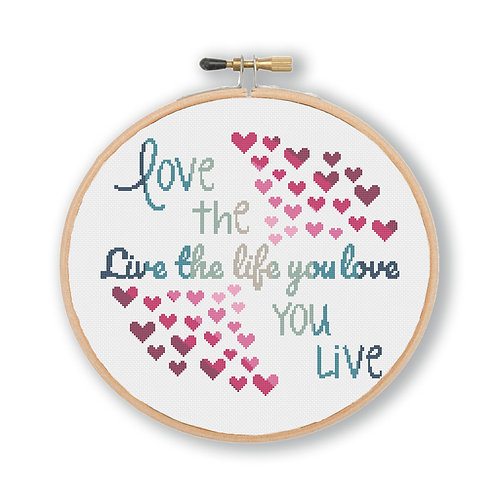 Love Life Cross Stitch Pattern