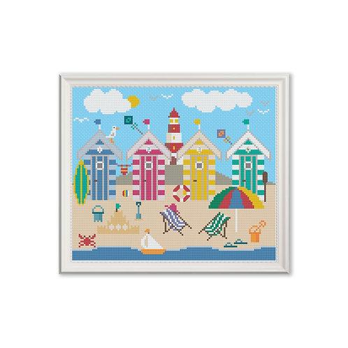 Beach Huts Cross Stitch Pattern