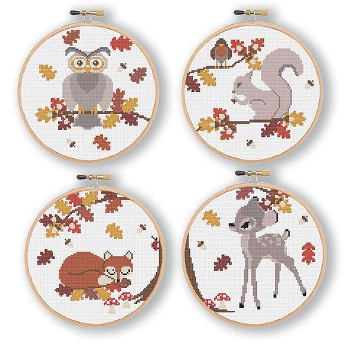 Autumn Woodland Animals Cross Stitch Pattern