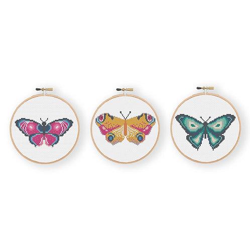 Miniature Butterfly Cross Stitch Kit Set of Three
