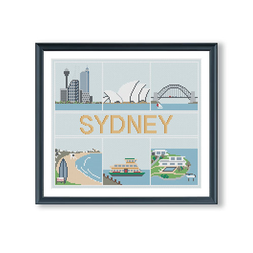 Sydney Landmarks Cross Stitch Pattern