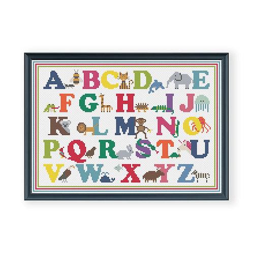 Animal Alphabet Cross Stitch Pattern