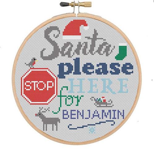 Santa Please Stop Sign Cross Stitch Pattern