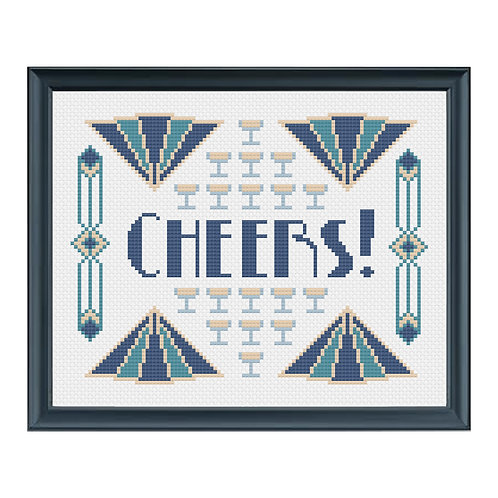 Art Deco Cheers! Cross Stitch Pattern