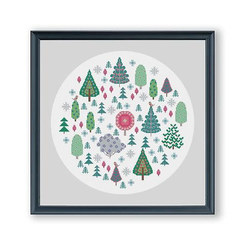 Contemporary Christmas Tree Cross Stitch Pattern