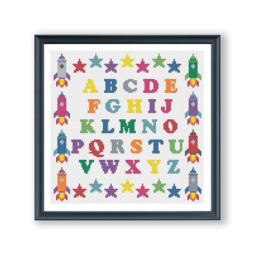 Rocket and Stars Alphabet Cross Stitch Kit