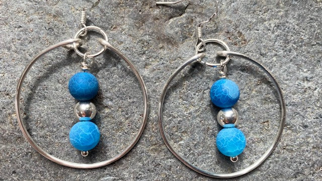 Frosted Blue agate beaded earrings