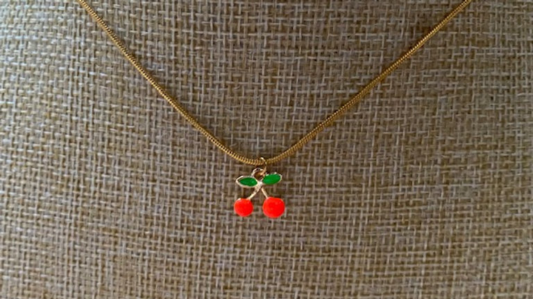 Gold plated chain with cherry charm