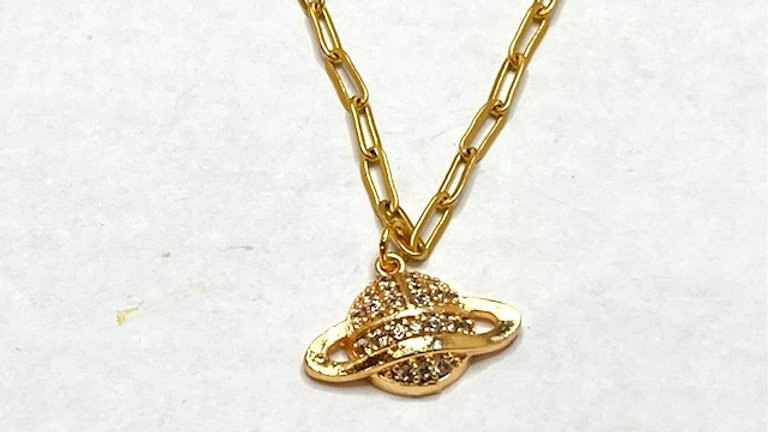 24kt gold plated paper clip short chain with Saturn charm