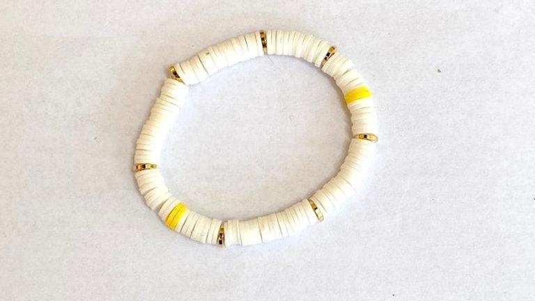 White heishi bead bracelet